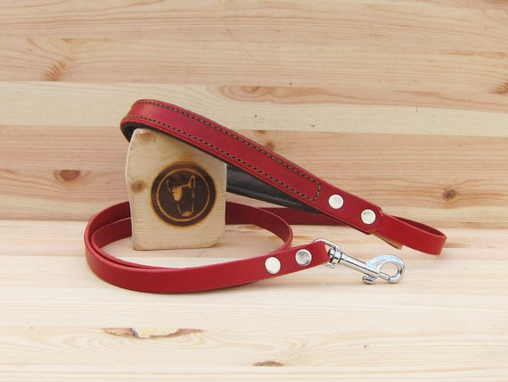 Red Dog Leash, Leather Dog Leash, Simple 4 Foot Dog Leash, Custom Handmade Dog Leash, Dog Lead, Strong Dog Leash, Comfort Soft Dog Leash