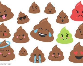 Smiley Poo, Emotion, Facial Expression - Cute Clipart, Clip Art - Commercial Use, Instant Download