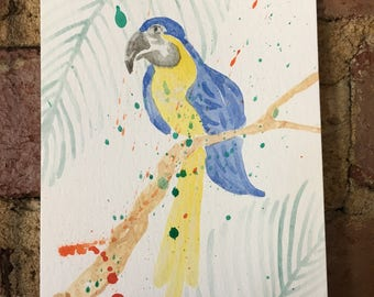 Blue and Yellow Parrot Watercolor