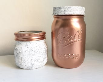 Hand painted marble copper mason ball and kilner jars