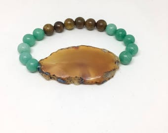 Agate and Amazonite Bracelet