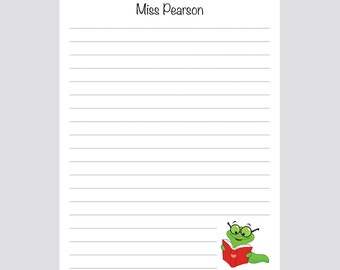Teacher bookworm personalized notepad for desk gift