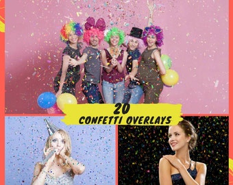 20 Confetti Overlays, Wedding Birthday Photoshop Overlays,Party Celebration Digital Backdrop Overlay, Glitter Photography Photo Effect