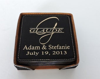 Leather Coasters Set of 6 Personalized With Family Name and Established Date