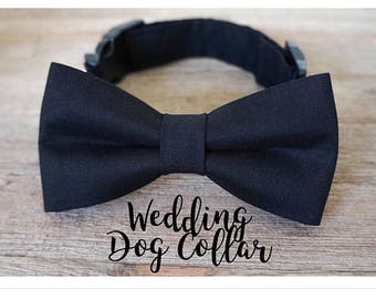 Wedding Dog Collar and Bow Tie in Black, Black Dog Bow Tie, Wedding Dog Collar, Wedding Dog Bow Tie, Dog Collar, Black Dog Collar, #dog