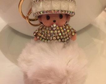 The Bubbly  Bag Charm  Monchichi  Pouf Pom Pom  Purse Charm  Crystals  Sparkly Key Chain