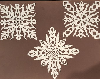 Set of 4 Paper Snowflakes, Original Handcut