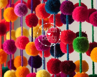 Multicolored Handmade Pom pom Garland /Mexican Wedding Decor/ Mexican handcraft / Party Decor / Girl Decor  / Pompom Decor / wholesale