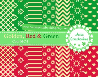 Digital Papers Golden, Red & Green - Scrapbook papers-  Digital Backgrounds - Decorative paper - Christmas- COD: MC-1