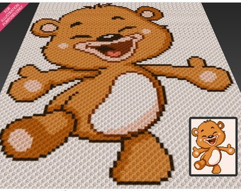 Happy Bear crochet blanket pattern; c2c, cross stitch; knitting; graph; pdf download; no written counts or row-by-row instructions
