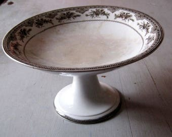 Old a fruit Cup on foot in EARTHENWARE .shallow footed dish or Compote / cake stand / Fruit dish / footed bowl / Vintage Gift