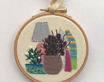 Pink Lamp, Embroidery Hoop Art, Wall Decor, Handmade
