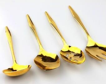 4 FLR1 Gold Electroplate Florentine Serving/Hostess Utensils