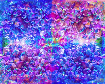 Psychedelic Kaleidoscopic Crystal Image on Canvas (Customizable)