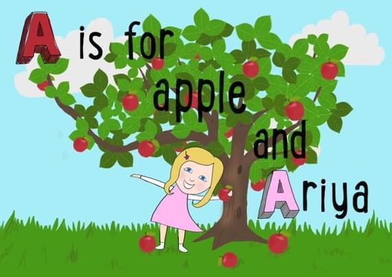Custom children's print - digital nursery art illustration - custom name art - kids art print - personalised children's name artwork