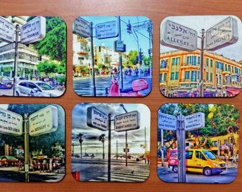 Tel Aviv Street Signs Coasters