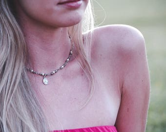 Silver and Pearl chain with Marian Medal