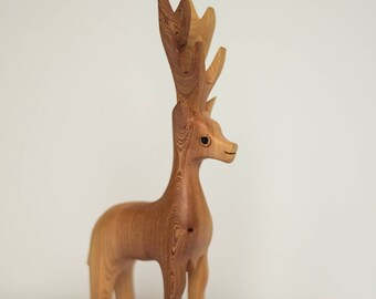 Reindeer Figurine, Hand Carved, Repurposed Wood