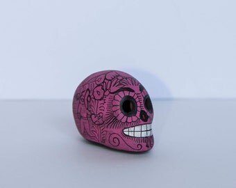 Hand-Painted Skull, Day of the Dead Decor, Mexican Style Art