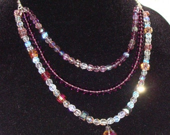 Purple Glass and Crystal Silver Plated Necklace