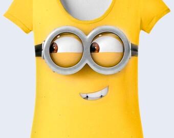 Minion Shirt, Funny Womens Top, Cartoon Cool T Shirt, Yellow T Shirt, Funny Gift, Short Sleeve, Crew Neck Tees