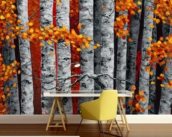 paint birch wallpaper, painting birch, birch wallpaper, birch wall mural, birch art wallpaper, art birch wall mural, birch wall decal,