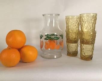 Vintage Juice Glass, Vintage Glassware, Vintage Anchor, 70s glassware, juice glasses. Vintage Anchor Hocking Juice Carafe & set of 4 glasses