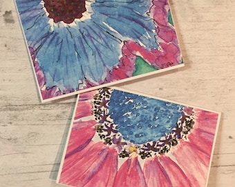 Painted Greeting cards, Watercolor card set, Flower Cards, handpainted card prints, pink and blue floral cards, blank greeting cards