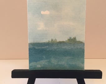 ACEO original, ACEO Ocean, artist trading card, mini easel art, watercolor painting, ocean ACEO, island painting, desk art, sky painting