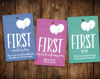 New Baby A Year of Firsts | PRINTED | Set of 12 | New Mom Wine Gift Basket | Milestones Wine Tags | Baby Shower Wine Tags | Multiple Colors