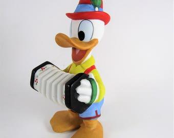 Ceramic Donald Duck Disney Figurine with Accordion Red Hat