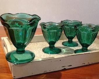 1960's Vintage Retro Green Dessert Parfait Sundae Glasses Set of 4