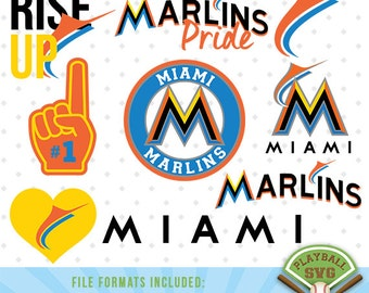 Miami Marlins SVG files, baseball designs contains dxf, eps, svg, jpg, png and pdf files. PB-007