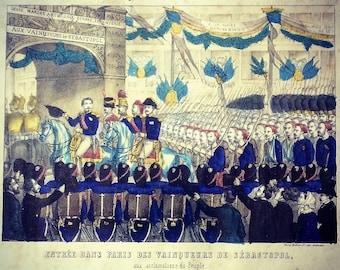 Lithograph Hollier / entering the winners of Sevastopol Paris / 1855 / Napoleon III / Crimean War / Paris / Arc de Triomphe