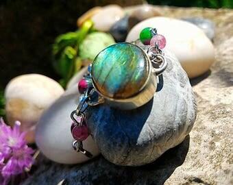 Labradorite & Ruby zoizite, rubellite, highly spiritual protection jewelry.