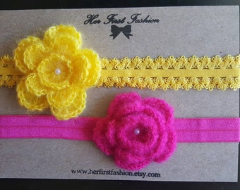 SET of Two Crochet Flowers with Headband/Hair clip