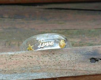 Love ring, resin ring, gold starfish, gold seashell, nautical ring
