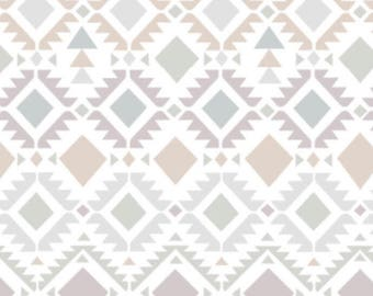 Smooth Minky Fabric by the yard Neutral Aztec.  Neutral Tribal print nursery fabric.