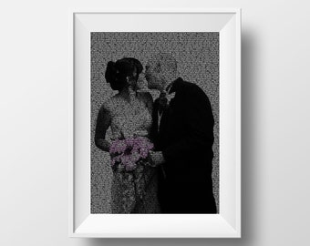 Custom Wedding Portrait, Custom Word Portrait, Wedding Vows Typographical Portrait, Wedding Keepsake, Newly Wed Gift, Text on Photos
