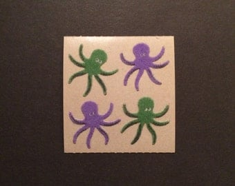 Sandylion vintage 80s very rare fuzzy brown back octopus stickers