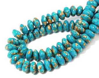 """Two 15.5"""" strands Mosaic Turquoise Rondelle Beads 8x4mm"""