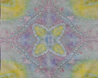 Ice-dyed Cotton Fabric, pink, blue, lemon muted colours
