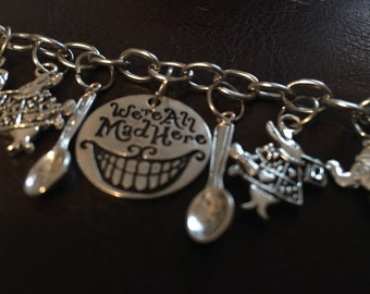 We're All Mad Here - Alice In Wonderland; Cheshire Cat Charm Bracelet