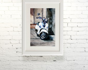 "Printable wall art  Watercolor poster ""Vespa"" Home decor"