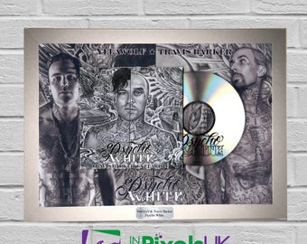 Yelawolf & Travis Barker - Psycho White CD Frame Presentation Rare Custom Trial By Fire Give The Drummer Some Shady