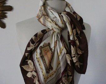 DIOR, scarf, square silk Christian DIOR, CD, scarf, Silk, collectible, large, high fashion, scarf, Vintage