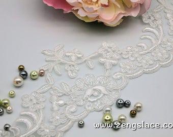 Ivory Alencon lace trim/Bridal Lace Jacket/Unique Bridal Lace/Bridal Gowns/Bridal Veil Lace/Wedding Lace/French Lace/Lace by the yard, AL-10