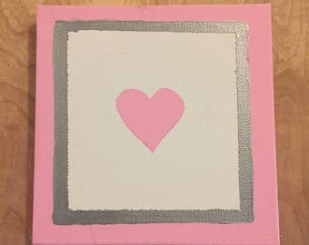 Silver and Pink Heart Art