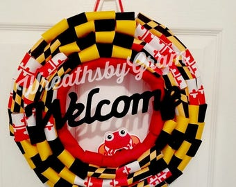 Flag Wreath; Maryland Flag; Patriotic Wreath; Front Door Wreath; Americana Wreath; Primitive Patriotic; Maryland Decor; Summer Wreath; Crab