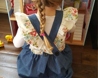 Pinafore dress ,floral,little girls dress,handmade dress